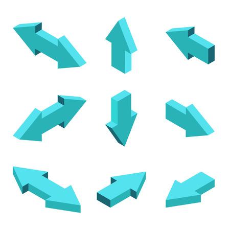 flecha: modernos conjunto de flechas isométricas sobre fondo gris Vectores