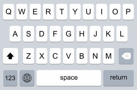 keyboard keys: modern keyboard of smartphone, alphabet buttons