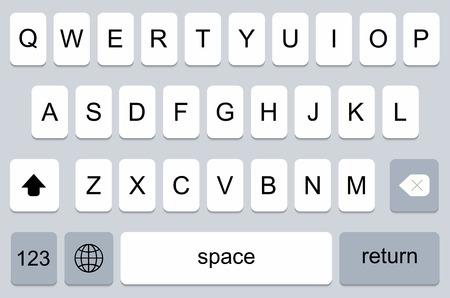 modern keyboard of smartphone, alphabet buttons