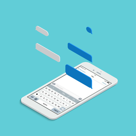 short message service: modern isometric smartphone with bubble speech on blue background