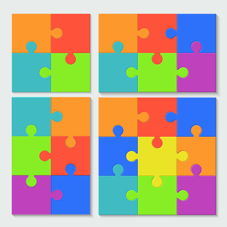 puzzle set: modern puzzle set with shadow on white background Illustration