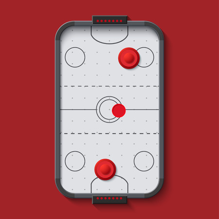 hockey: vector modern air hockey table on red background