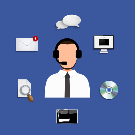 telemarketer: Vector modern support service icons set. Business background