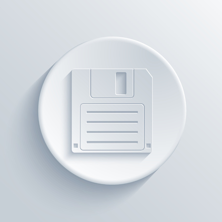 diskette: Vector modern diskette light circle icon with shadow