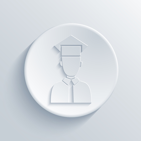faculty: Vector modern student light circle icon with shadow Illustration