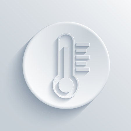 meteorology: Vector modern thermometer light circle icon with shadow