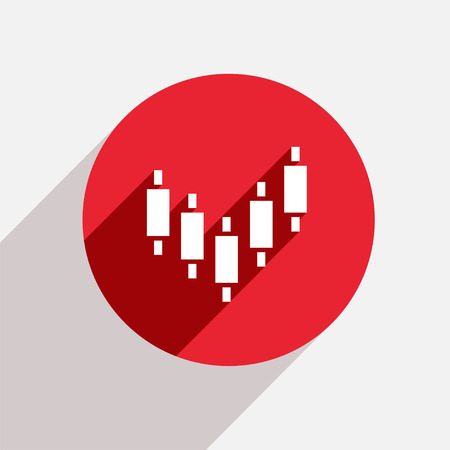 Vector modern binary options red circle icon with shadow