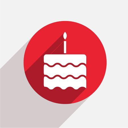 velitas de cumpleaños: Vector de la torta moderna círculo rojo icono con la sombra