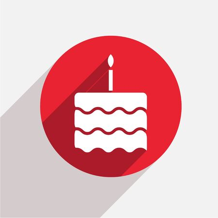 birthday candle: Vector modern cake red circle icon with shadow