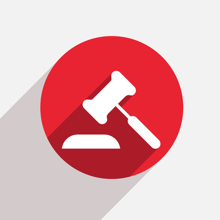 arbitrate: Vector modern courthouse red circle icon with shadow