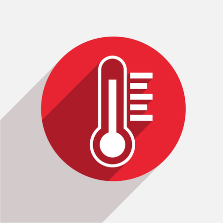 Vector modern thermometer red circle icon with shadow