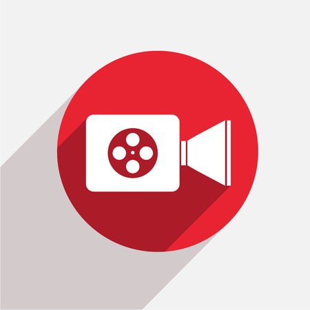 videocamera: Vector modern videocamera red circle icon with shadow Illustration