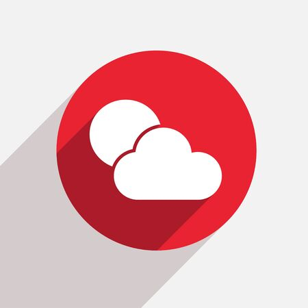 cloudy weather: Vector modern weather red circle icon with shadow