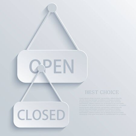 white door: Vector modern open closed light icon background.