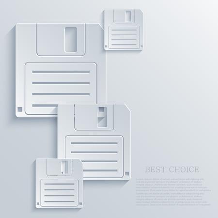 old pc: Vector modern diskette light icon background Illustration