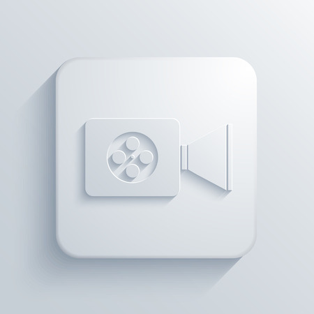 video camera icon: Vector modern videocamera light icon with shadow Illustration