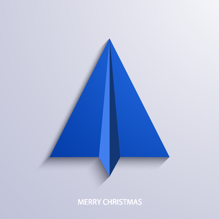 paper airplane: vector concept christmas tree and origami airplane. New year background