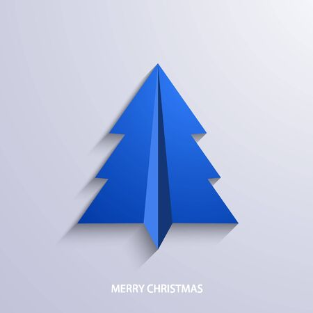 origami: vector concept christmas tree and origami airplane. New year background