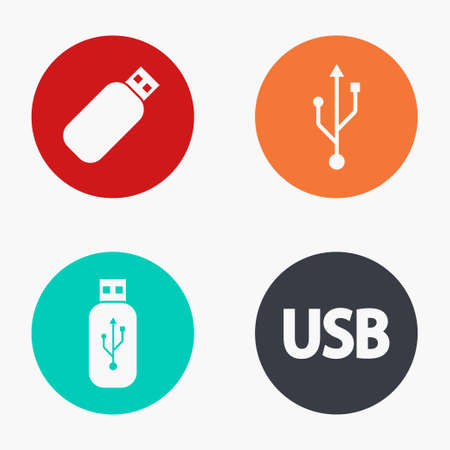 compartment: Vector modern usb colorful icons set on white background
