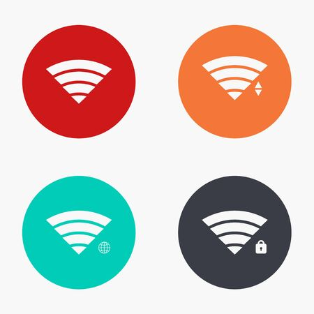 fi: Vector modern wi fi colorful icons set on white background