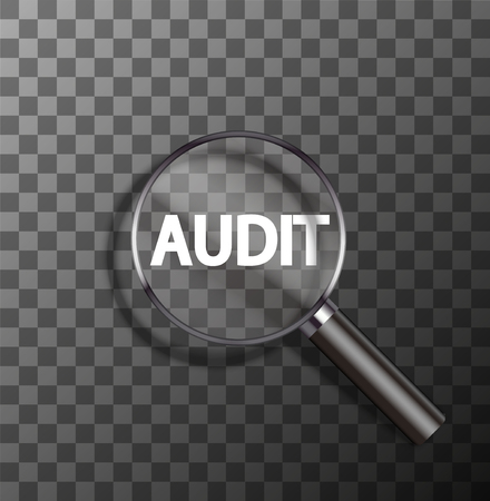 control fraud: vector audit word in magnifying glass on sample background
