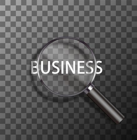 business word: vector business word in magnifying glass on sample background