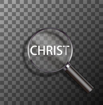 worshiping: vector christ word in magnifying glass on sample background