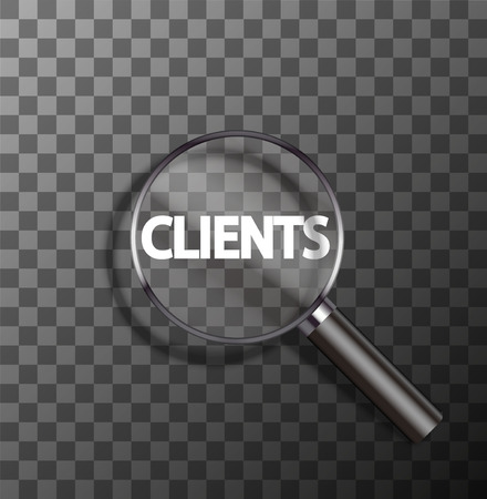 vector clients word in magnifying glass on sample background