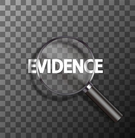 vector evidence word in magnifying glass on sample background