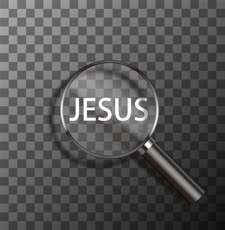 jesus word: vector jesus word in magnifying glass on sample background Illustration