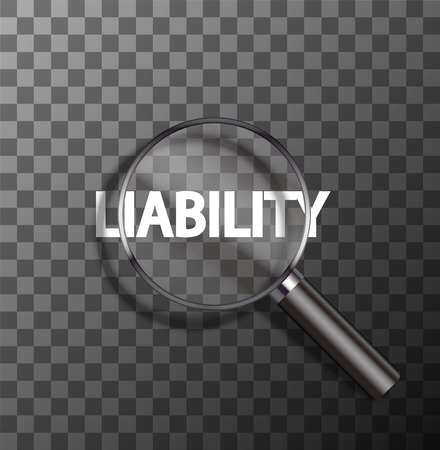 vector liability word in magnifying glass on sample background
