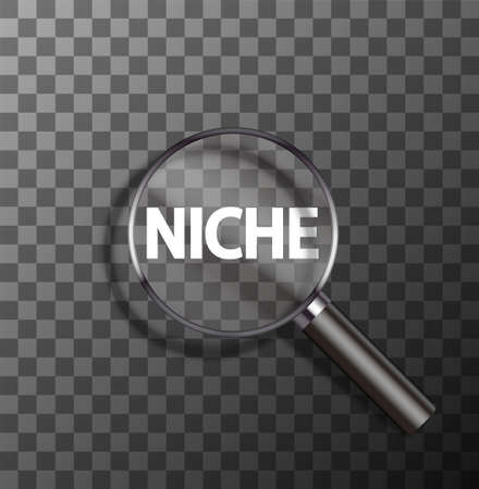 uniqueness: vector niche word in magnifying glass on sample background Illustration