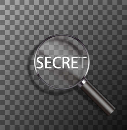 secret word: vector secret word in magnifying glass on sample background Illustration