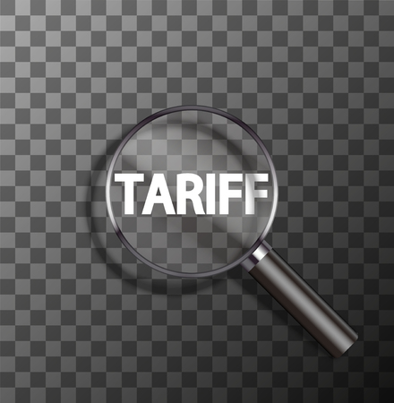 tariff: vector tariff word in magnifying glass on sample background