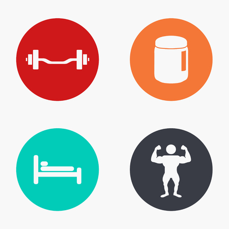 circular muscle: Vector modern sport colorful icons set on white background