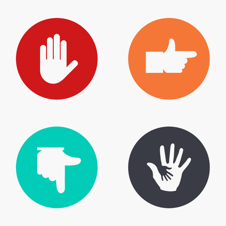 hand silhouette: Vector modern hand colorful icons set on white background