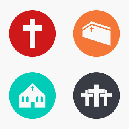 bible background: Vector modern church colorful icons set on white background