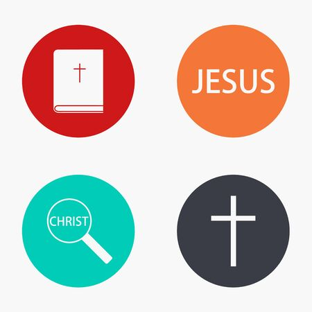 office background: Vector modern religion colorful icons set on white background