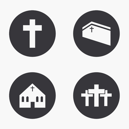bible background: Vector modern religion icons set on white background