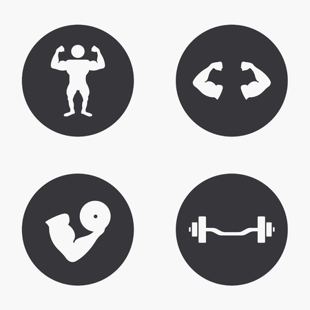 circular muscle: Vector modern sport  icons set on white background Illustration