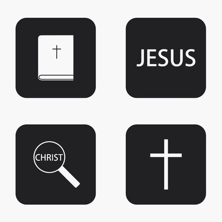 baptism of jesus: Vector modern religion icons set on white background