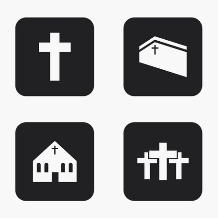 background design: Vector modern religion icons set on white background