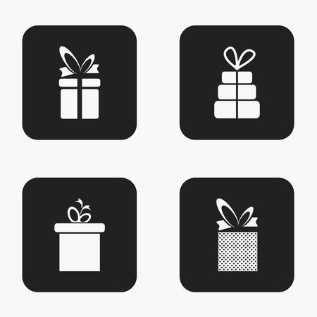 birthday presents: Vector modern gift icons set on white background