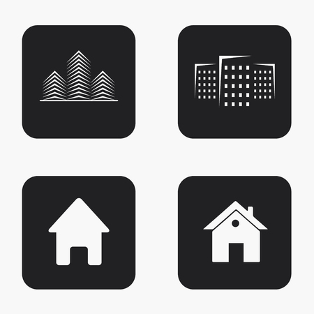 commercial building: Vector modern real estate  icons set on white background
