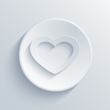 circle icon: Vector modern heart light circle icon with shadow