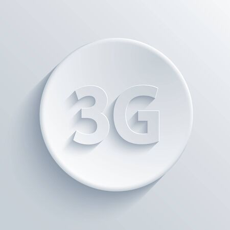 3g: Vector modern 3g light circle icon with shadow Illustration