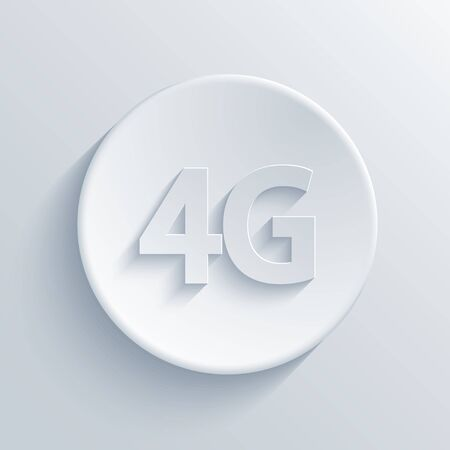 4g: Vector modern 4g light circle icon with shadow Illustration