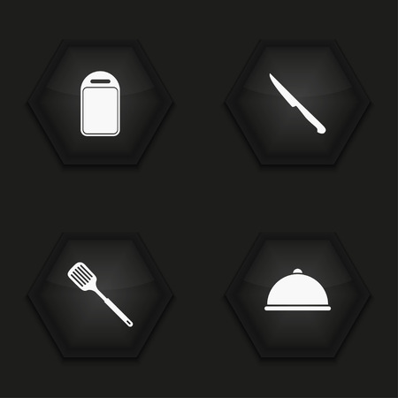 appliances icons: Vector modern kitchen appliances icons set on background