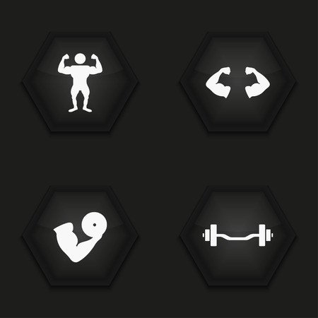 circular muscle: Vector modern sport  icons set on background