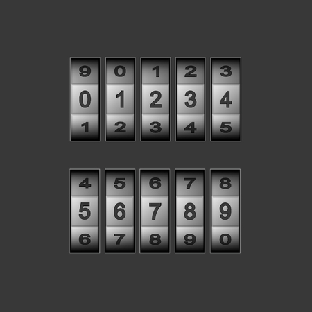 secret number: Vector modern combination number code set on gray background